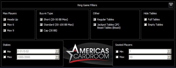 Americas Cardroom Cash Game Filters