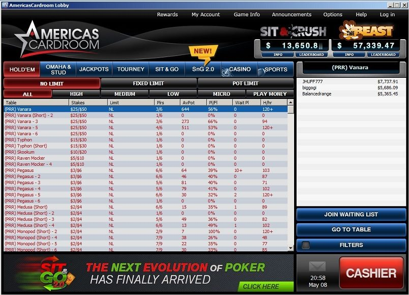 ACR Cash Game Lobby