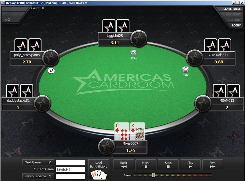 Hand Replayer at Americas Cardroom